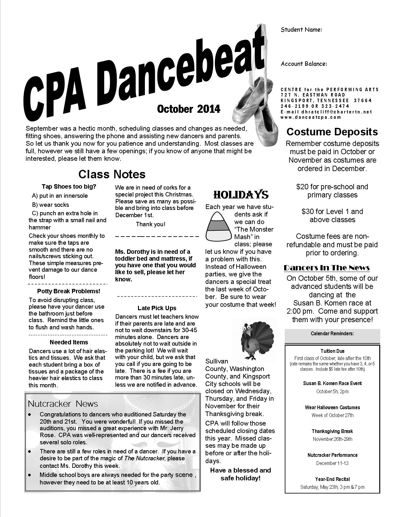October 2014 dancebeat